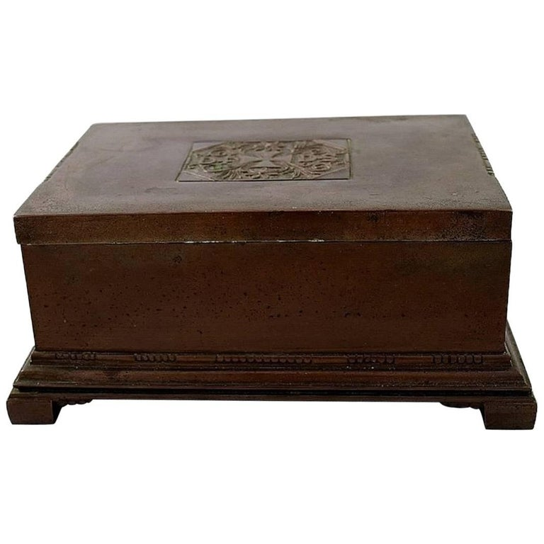 johan rohde for georg jensen cigar box of copper and brass at 1stdibs. Black Bedroom Furniture Sets. Home Design Ideas
