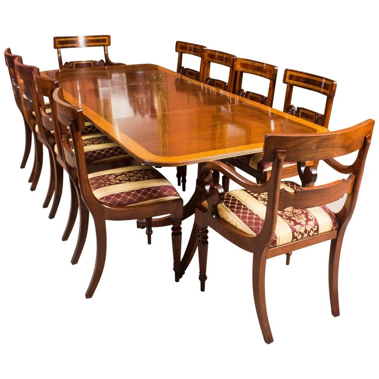 Vintage Dining Table By William Tillman Harrods And Ten Chairs For Sale
