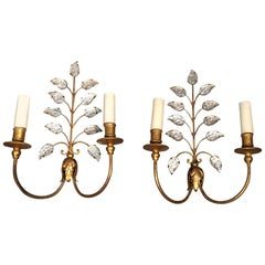 Pair of Gilt Iron Sconces by Maison Baguès, Mid-20th Century, circa 1950