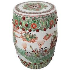 20th Century Chinese Porcelain Famille Verte Garden Seat or Stool