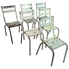 Set of Six French Painted Steel Garden Chairs