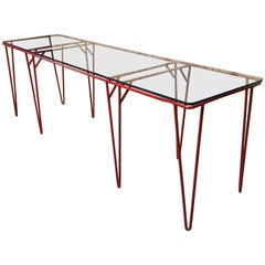 Italian Midcentury Long Console Table in Red
