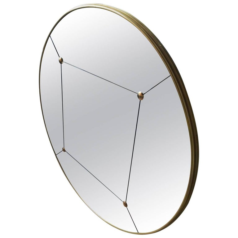 Customizable Rounded Brass Frame Panelled and Studded Mirror in stock