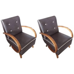 1930s Art Deco Brown Leather and Walnut Armrests