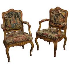 Pair of 18th Century Bavarian Painted Needlework Armchairs