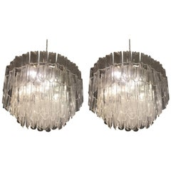 1970s Mazzega Vistosi Murano White and Transparent Glass Pair of Chandeliers