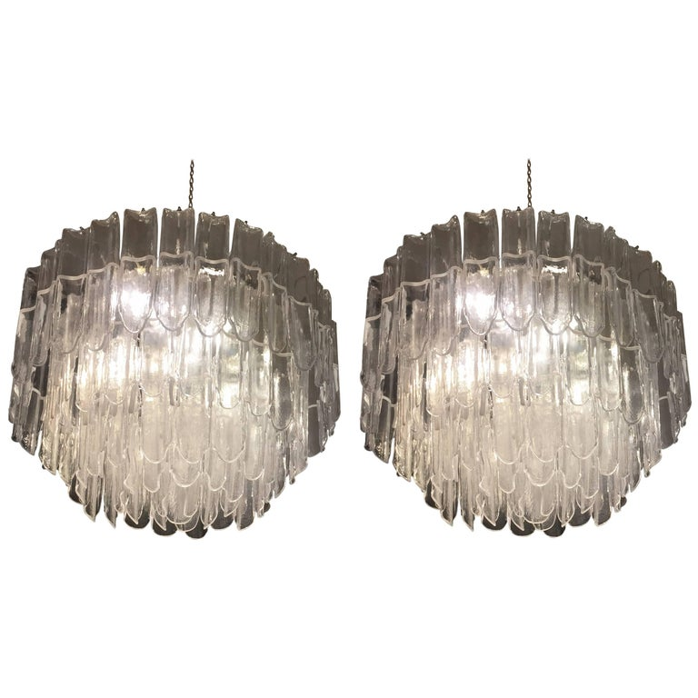 Blown Glass Pair of Chandeliers Attributed to Mazzega, circa 1970