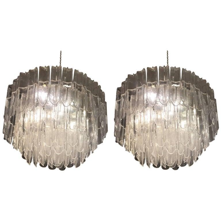1970s Mazzega Vistosi Murano White and Transparent Glass Pair of Chandeliers