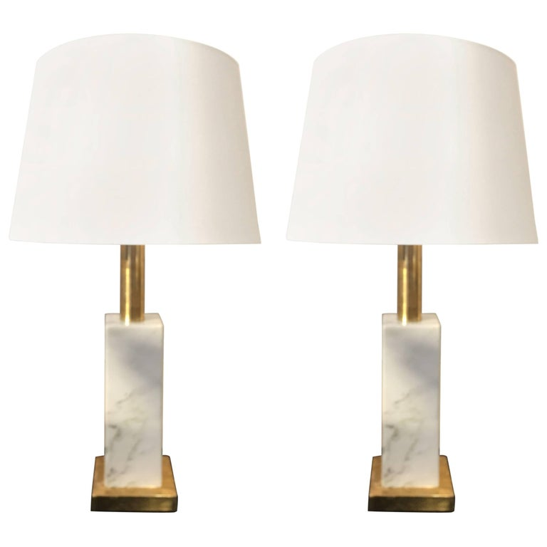 Carrara White Marble and Brass Italian Table Lamps, 1960s