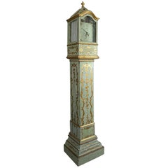 Italian 18th Century Painted and Parcel-Gilt Longcase or Grandfather Clock