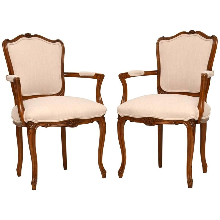 Pair of antique french walnut salon chairs for sale at 1stdibs for Salon sofa for sale