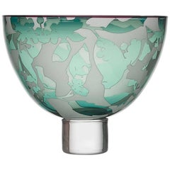 Contemporary Decorative Bowl in Engraved Handblown Glass