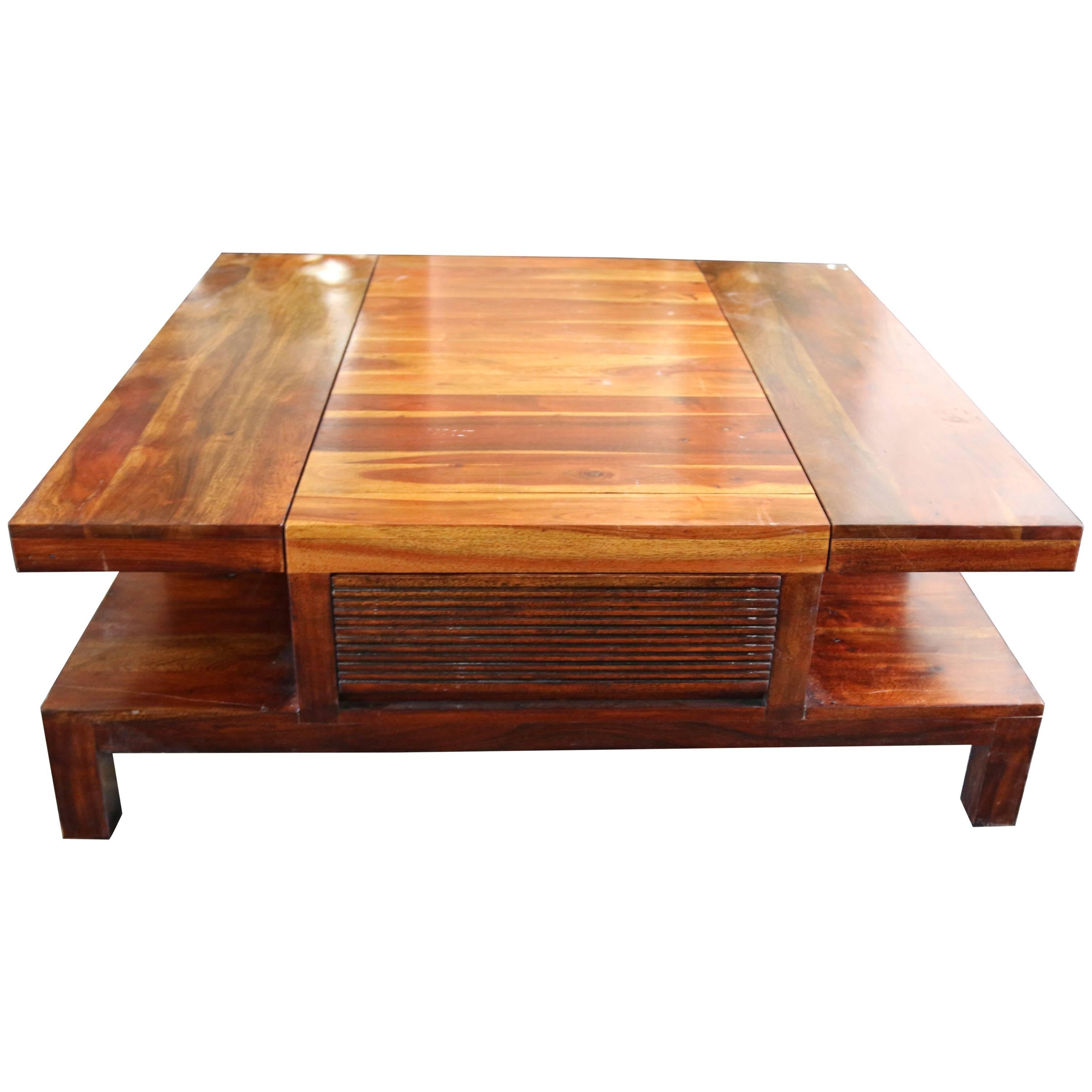 20th Century Square Table From Exotic Wood with Two Side Drawers
