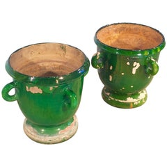 Pair of Small Green-Glazed 19th Century French Castelnaudary Pots