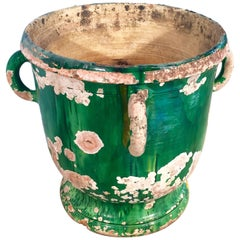 French 19th Century Green-Glazed Castelnaudary Pot/Planter