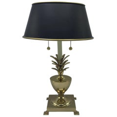1970s Brass Pineapple Lamp with Black Tole Shade
