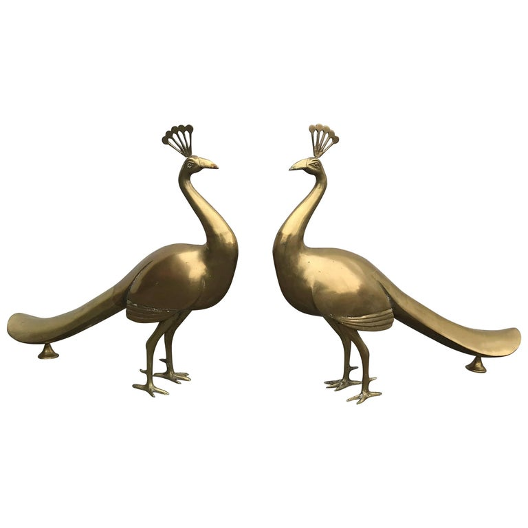 1960s Large Italian Brass Peacock Sculptures, Pair