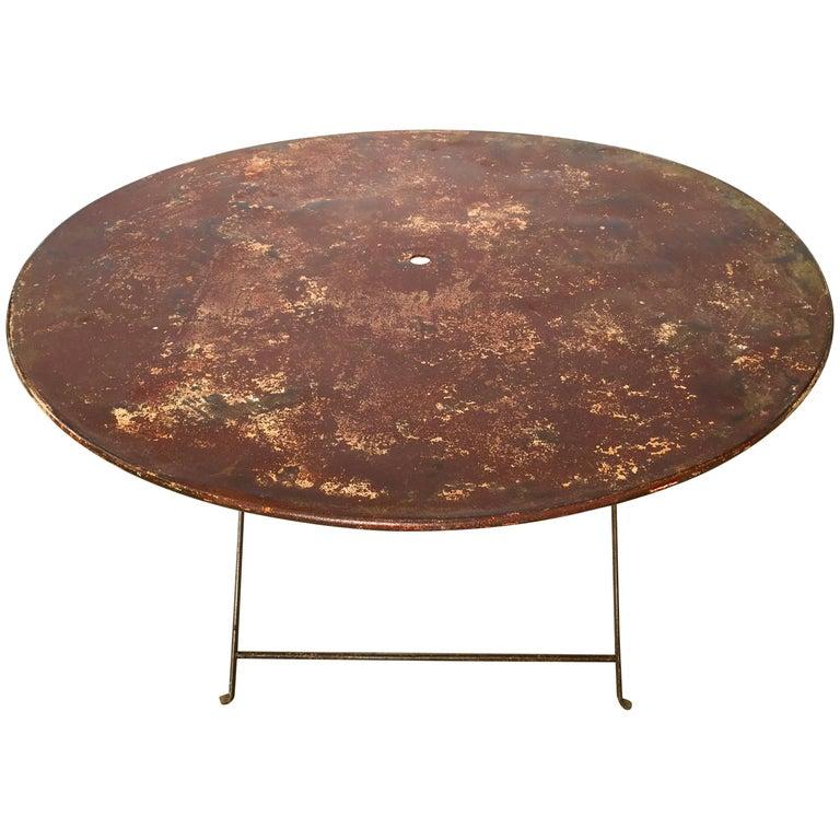 Round French 19th Century Folding Wrought Iron Garden Table