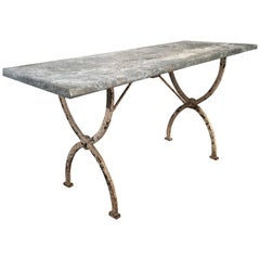 French Rectangular Wrought Iron Zinc-Topped Table #1