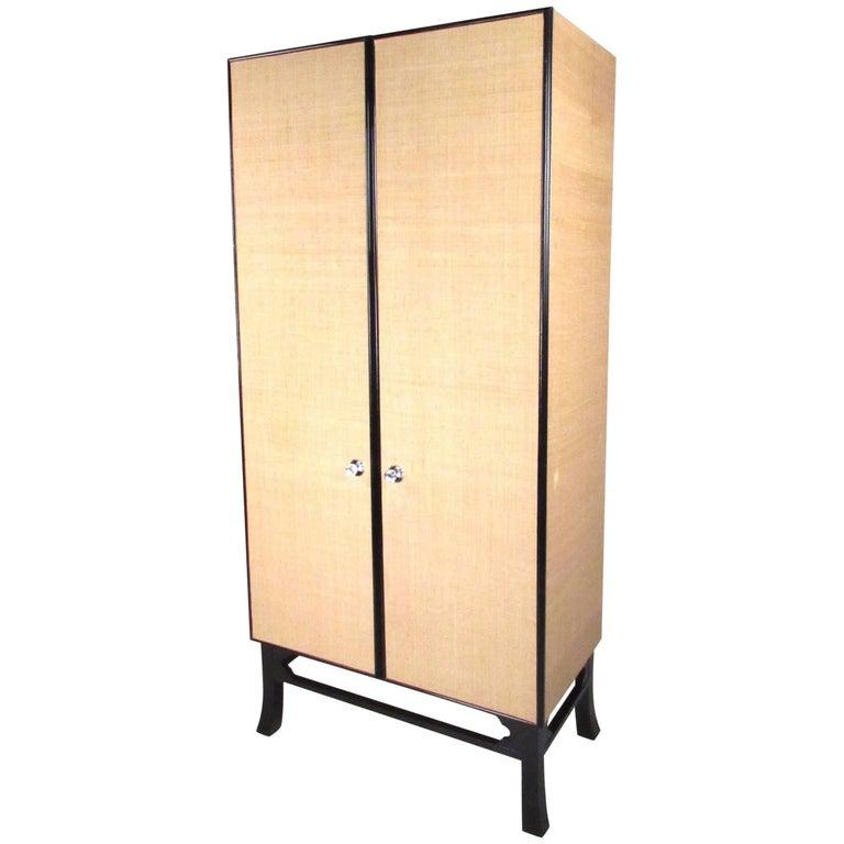 Tall Wardrobe Cabinet with Ebonized Base