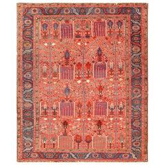 Rusty Red Background Antique Heriz Persian Rug