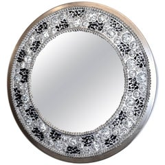 Contemporary Fine Design Italian Lit Black and Clear Rock Crystal Nickel Mirror