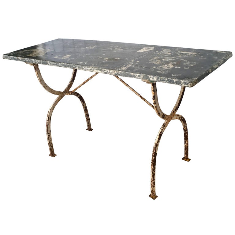 French Rectangular Wrought Iron Zinc-Topped Table #2