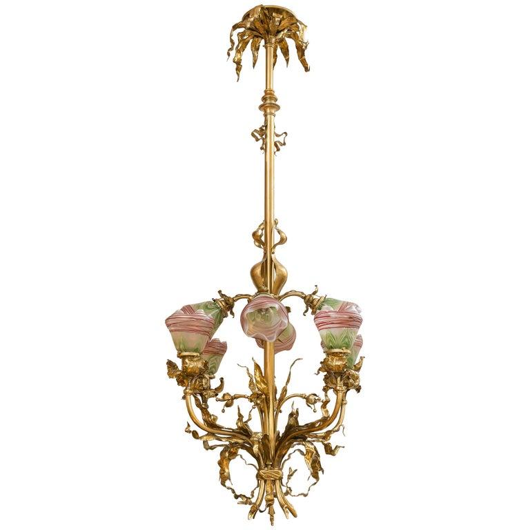 Eight-Arm Art Nouveau Chandelier with Handblown Period Art Glass Shades