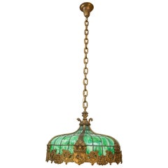 Leaded Glass Hanging Dome with Eight Sockets, Game Room, Pool Room Interest