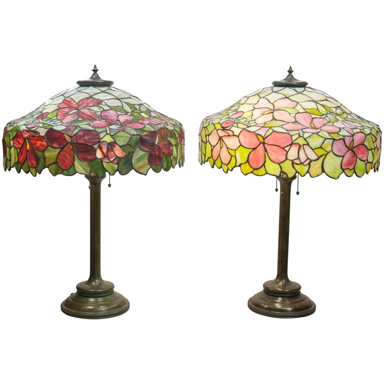 Pair of Leaded Glass Table Lamps by the Unique Art Glass Co. For Sale