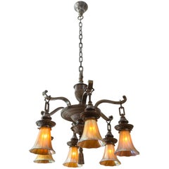 Edwardian Six-Arm Chandelier with Art Glass Shades