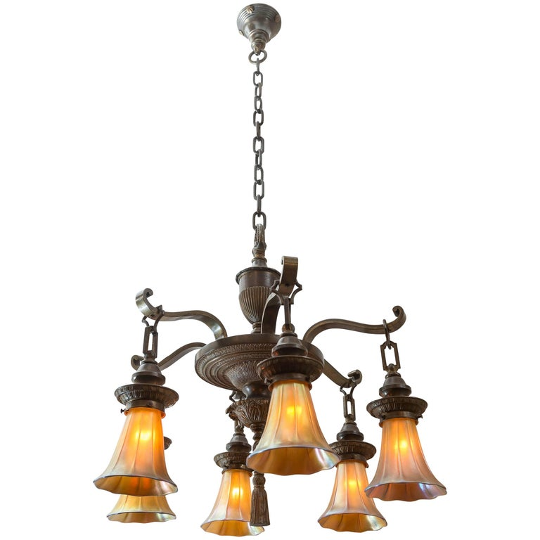 Edwardian Six-Arm Chandelier with Art Glass Shades For Sale