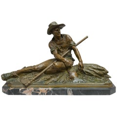 Bronze Figure of Handsome Farmer, Signed by the French Artist Drouot