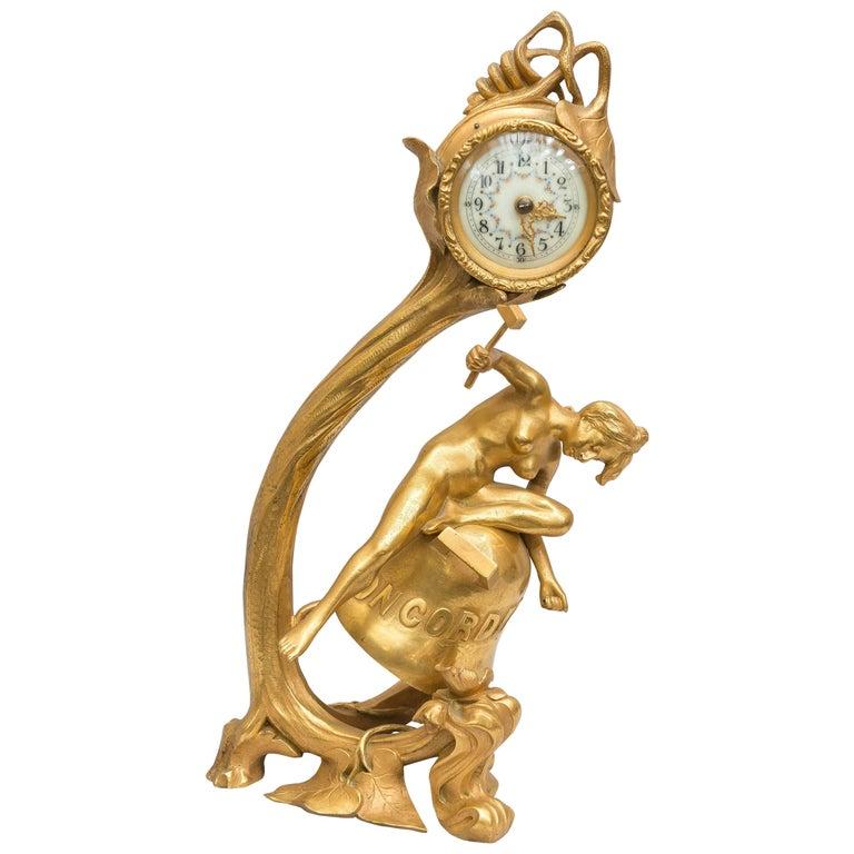 Gilt Bronze Art Nouveau Clock