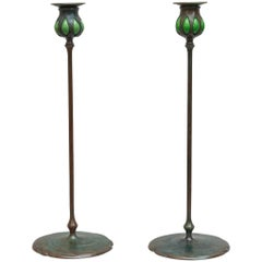 Pair of Tiffany Studios Candlesticks