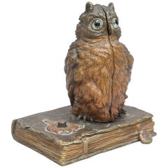 Vienna Bronze Mechanical Naughty Bronze, Owl and Nude, by Signed Bergmann