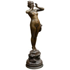 19th Century Art Nouveau Bronze Sculpture of a Female Adventurer by A. Grevin