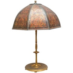 Gilt Bronze Lamp Base with Period Mica Shade