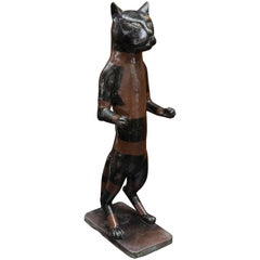 Early 20th Century Cast Brass Standing Cat With Old Paint Decoration