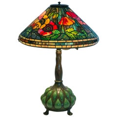 Excellent Tiffany Studios N Y Poppy Lamp with a Rare Blown Glass/ Bronze Base