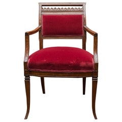 Late 18th Century Italian Walnut Neoclassic Armchair, circa 1790
