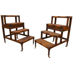 Pair of English Mahogany Metamorphic Table Steps in Regency Style