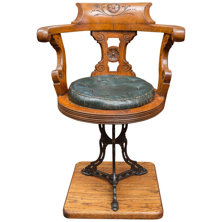 Late 19th Century English Ship's Chair / Stool Authentic Period Nautical Example
