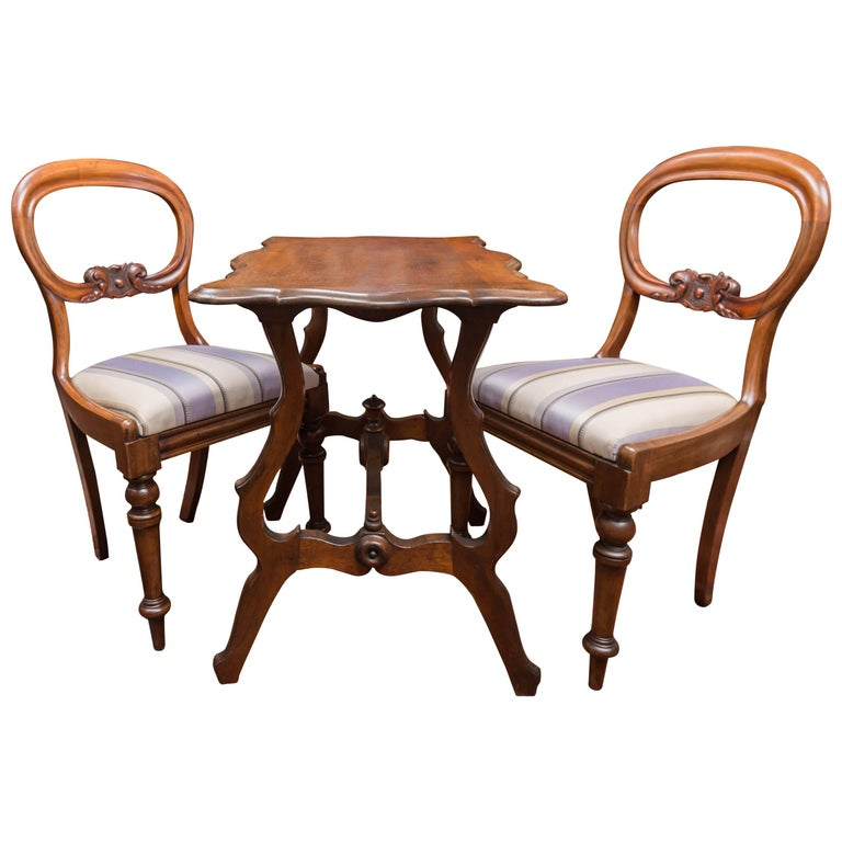 Chess Table Set, Pair of 19th Century Mahogany Chairs and Walnut Table