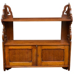 19th Century English Mahogany Hanging Wall Shelf or Cabinet, circa 1890