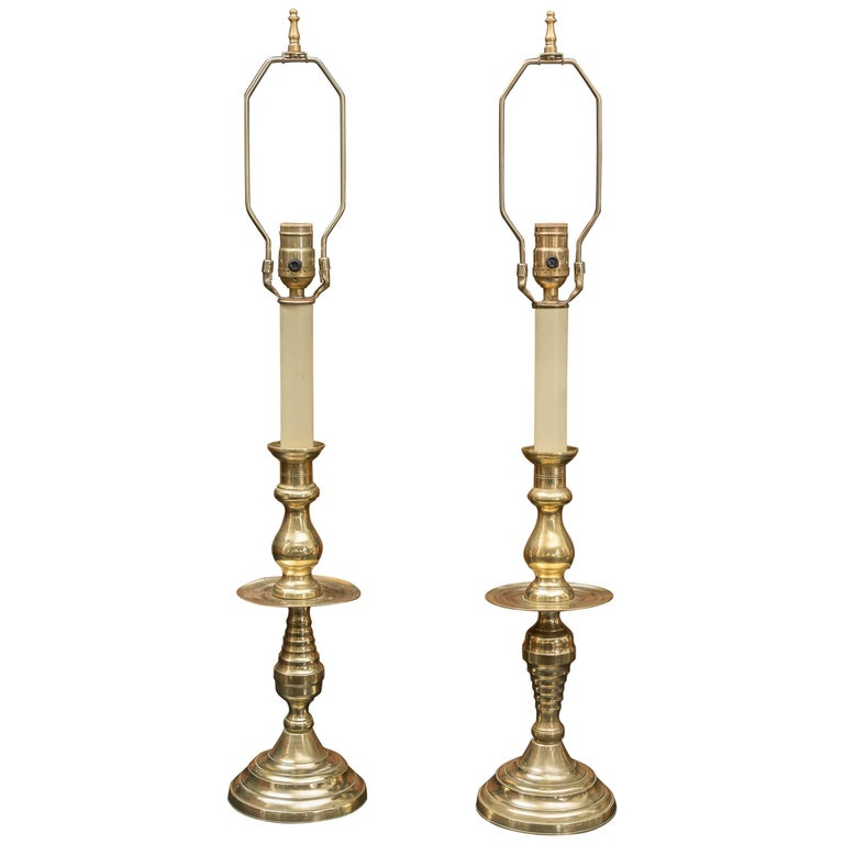 Pair of Late 19th Century Large Scale English Brass Candlestick Lamps  For Sale