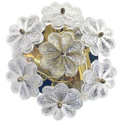 Floral Glass Flush Mount Chandelier by Palme
