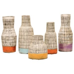 Contemporary Sculptural Hand-Painted Ceramic Vases