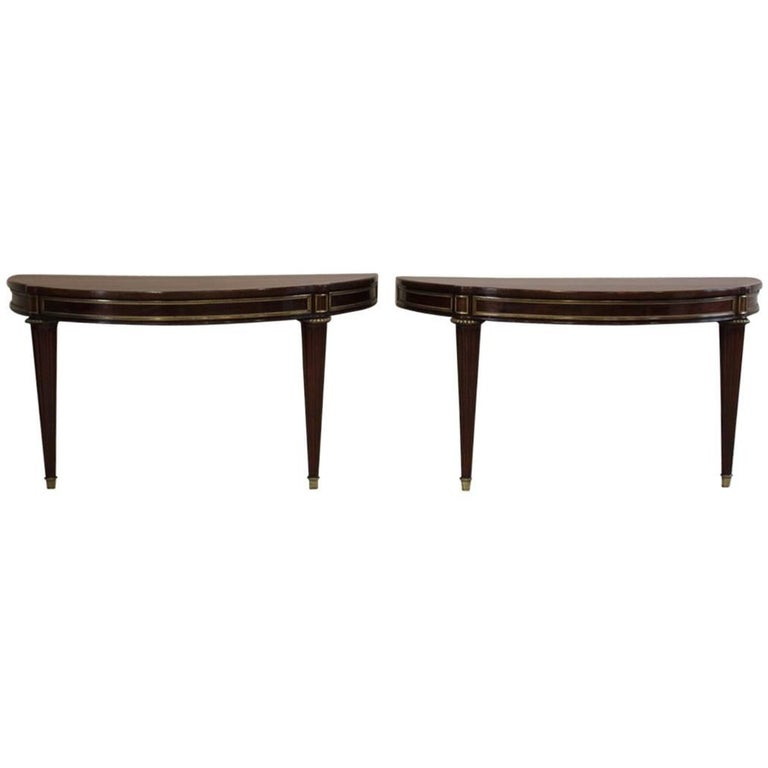Pair of Louis XVI Style D-End Mahogany Console Tables