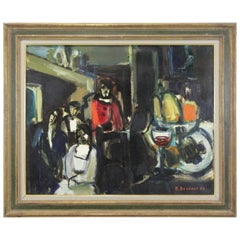 "Still Life Painting on Canvas ""Cafe Scene"" by Michel Bonnaud"